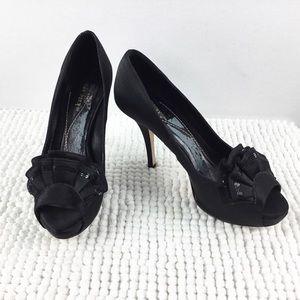 Kate Spade Ruffle Sequin Platform Peep Toe Heels